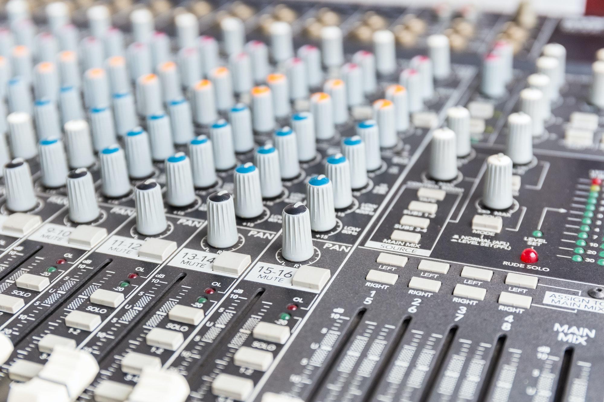 audio mixer closeup